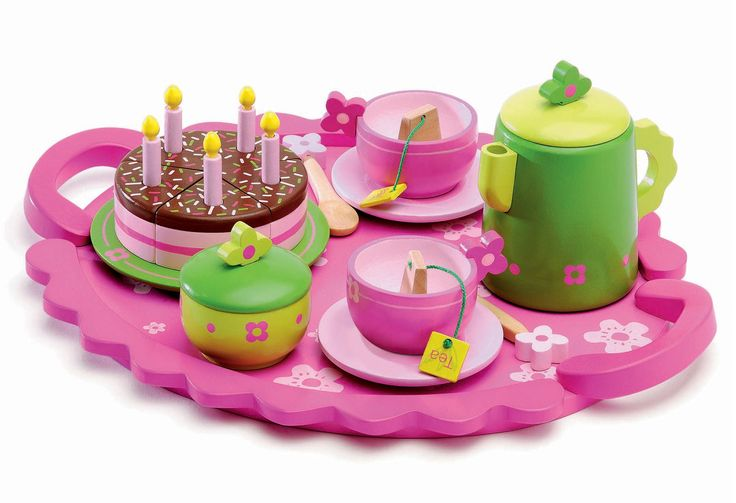 This wooden birthday tea party set features all the bits and pieces children need to celebrate their birthday with friends over and over again. Superb quality and brightly painted, this wooden toy set includes: a serving tray, a sugar dish and lid, a teap