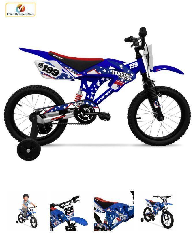 "16"" Hyper Nitro Boys BMX Bike Blue Steel Frame Kids Bicycle Motocross Style Gift #HyperBicycles"