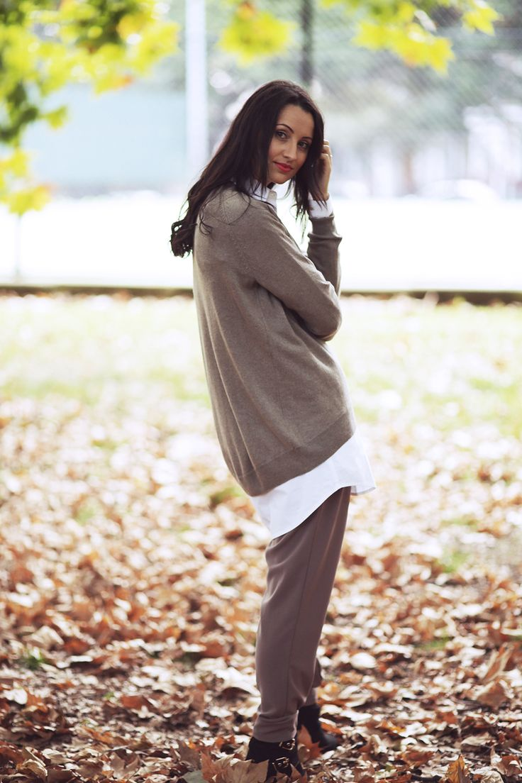 Scoop Hem Sweater in Donkey and the Long White Shirt