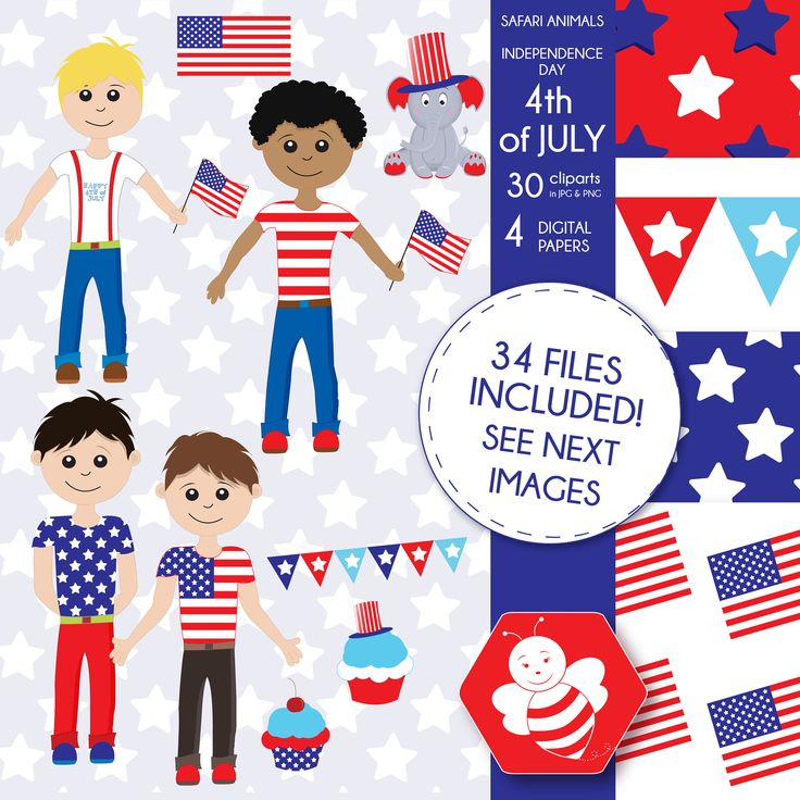 American Boys clipart, 4th of July, Fourth of July, commercial use, vector graphics, digital clip art, digital images, CL0029 by Sweetdesignhive on Etsy