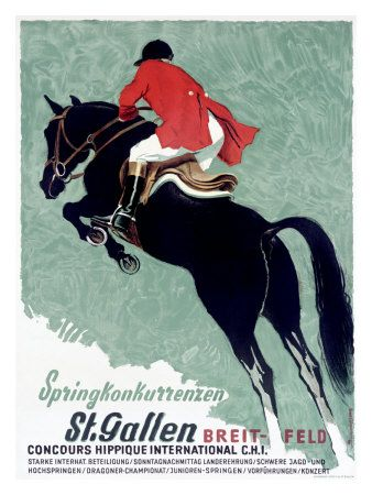 "Vintage Art - French, ""Horse Jumper Show"""