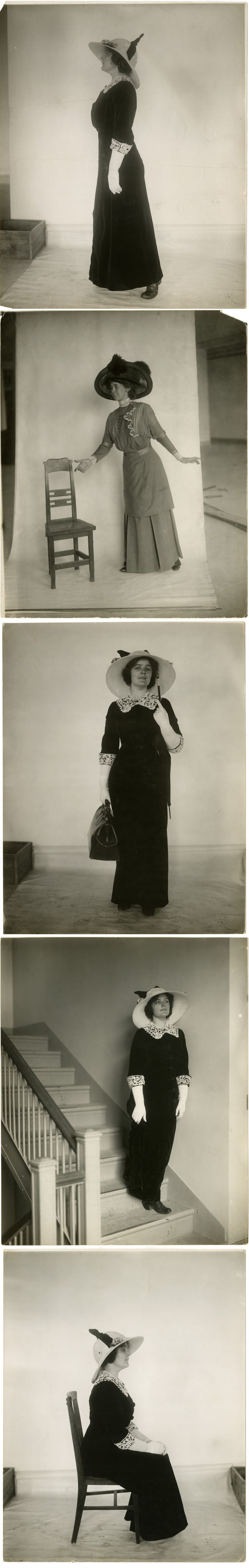 """December 17, 1892: The first issue of Vogue was published.  Instructional fashion photographs, by Jessie Tarbox Beals, ca. 1905-1918,""""The right way to: stand when walking; offer a seat; carry bag & umbrella; come down the stairs; sit in a chair,"""" PR 004, NYHS image numbers 82231d-82235d."""