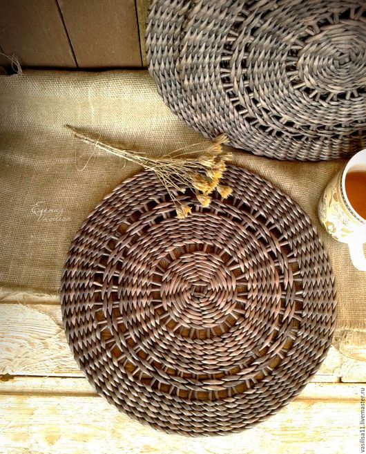 Кухня ручной работы. Ярмарка Мастеров - ручная работа. Купить Подставки сервировочные плетеные 'Вечерние' (3 шт.). Handmade.