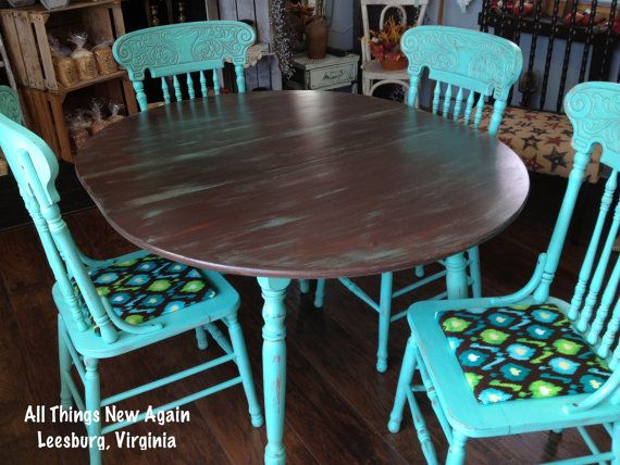 Turquoise and Brown Painted Dining Table and 4 Chairs Set