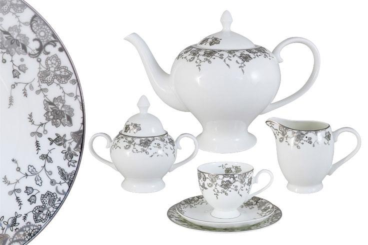 Чайный сервиз из костяного фарфора на 6 персон «Эстель»      Бренд: Emerald;   Страна производства: Китай;   Материал: костяной фарфор;   Количество персон: 6;   Количество предметов: 21 шт;   Объем чашки: 200 мл;   Объем чайника: 1,5 л;   Объем молочника: 300 мл;   Объем сахарницы: 350 мл;         Чайный сервиз из костяного фарфора на 6 персон «Эстель» состоит из:         6 чашек по 0,2 л;      6 блюдец;      6 десертных тарелок 18 см;      1 заварочный чайник 1,5 л;      1…