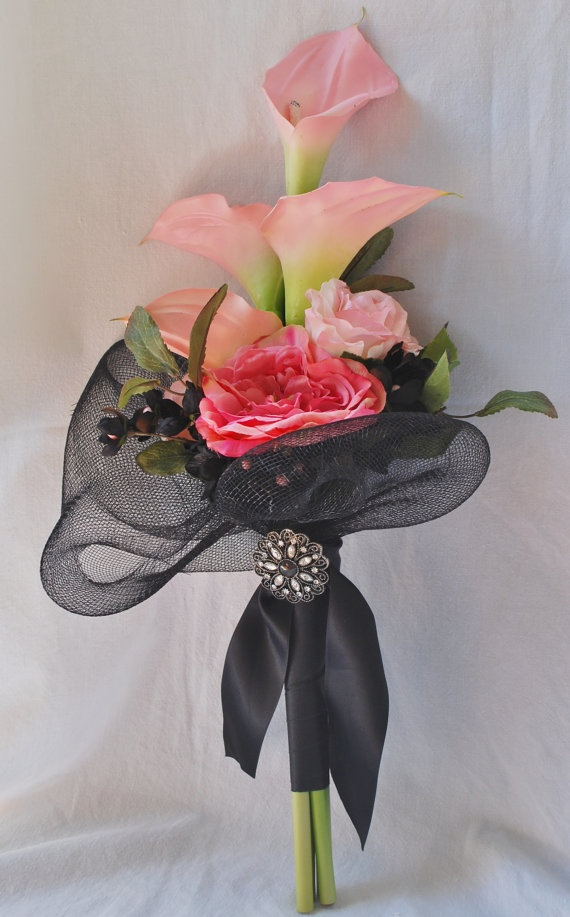 Modern Vintage  Black and Pink Bridesmaid Bouquet by luvulila,
