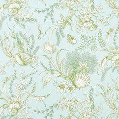 Aqua Shells Fabric