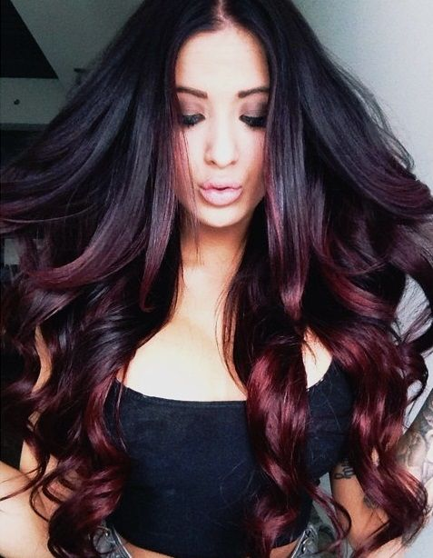 Black hair with deep purple red ombre dip dye