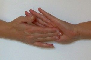 Jin Shin    Hold center of palm when feeling fatigued or depressed. - image by astrid kauffmann