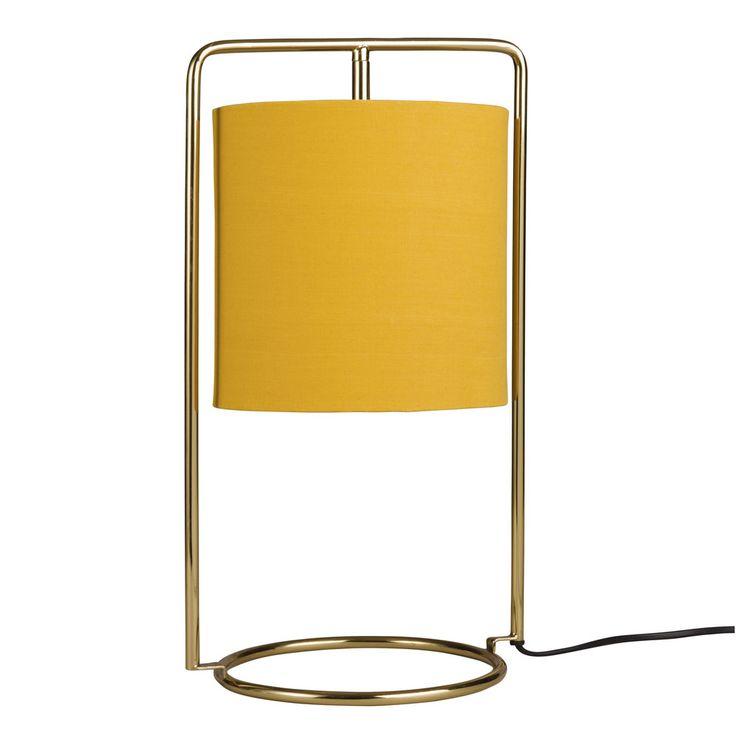 Lampada dorata in metallo e abat-jour giallo in cotone | Maisons du Monde