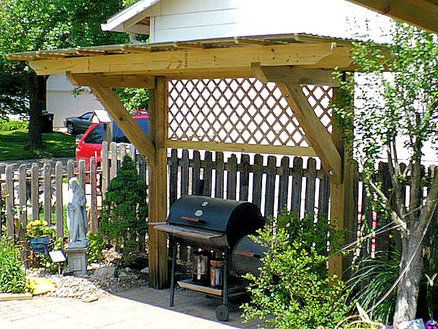 PERGOLA for my Mother's Day gift of a Charcoal Grill/gas grill combo....~