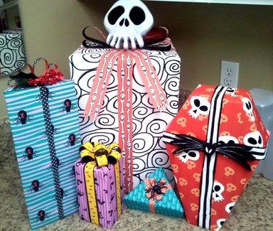 Nightmare Before Christmas Wrapping Paper DIY Tutorial  This is a tutorial on how to make your own Nightmare Before Christmas gift wrapping paper. It can be used for NBC prop making, or actual gift wrap for a huge NBC fan!