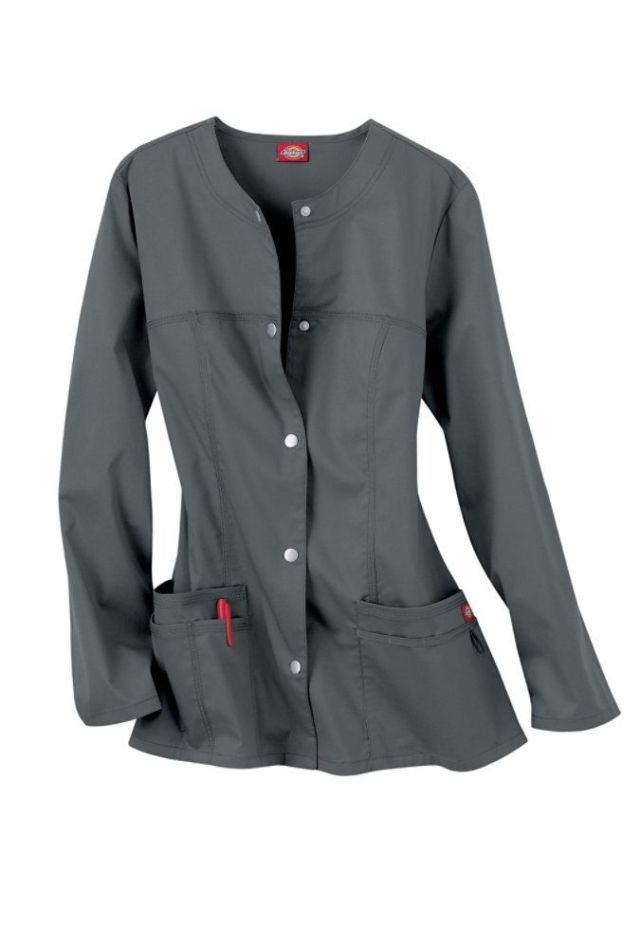Career infographic : Dickies Gen Flex Youtility round neck scrub jacket. (Vet Tech Shoes)