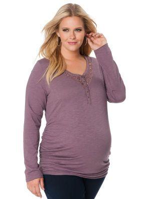 Motherhood Maternity Jessica Simpson Plus Size Long Sleeve V-neck Lace Trim  Maternity T Shirt