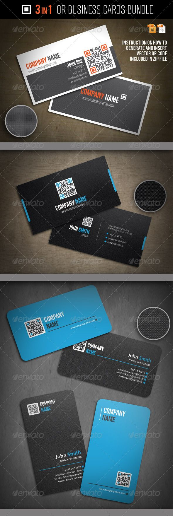 117 best business cards psd with qr code images on pinterest 3 in 1 qr business cards bundle colourmoves