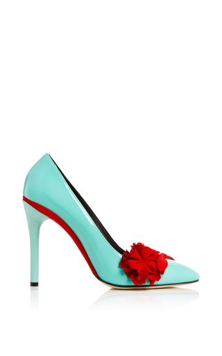 Lola Pump In Seafoam Patent Leather by OSCAR DE LA RENTA Now Available on Moda Operandi