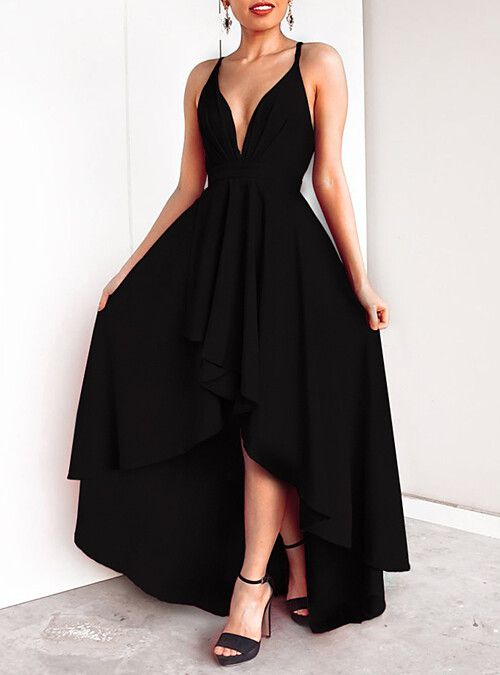 bb5efd90229 Maxi Dress A-Line Plunging Neck Floor Length Chiffon Dress with Tier by LAN  TING