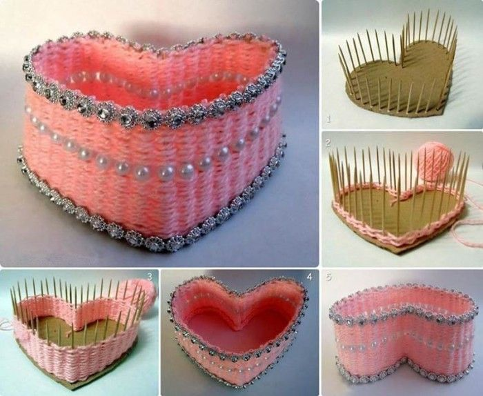 DIY Pretty Yarn Woven Heart Shaped Basket Here is a nice DIY project to weave a heart shaped basket with yarn and toothpicks. Isn't that pretty? It's very easy to make and no sophisticated skills or materials are needed. Once you finish weaving the basket, decorate it with shining beads and other ornaments to make it look gorgeous