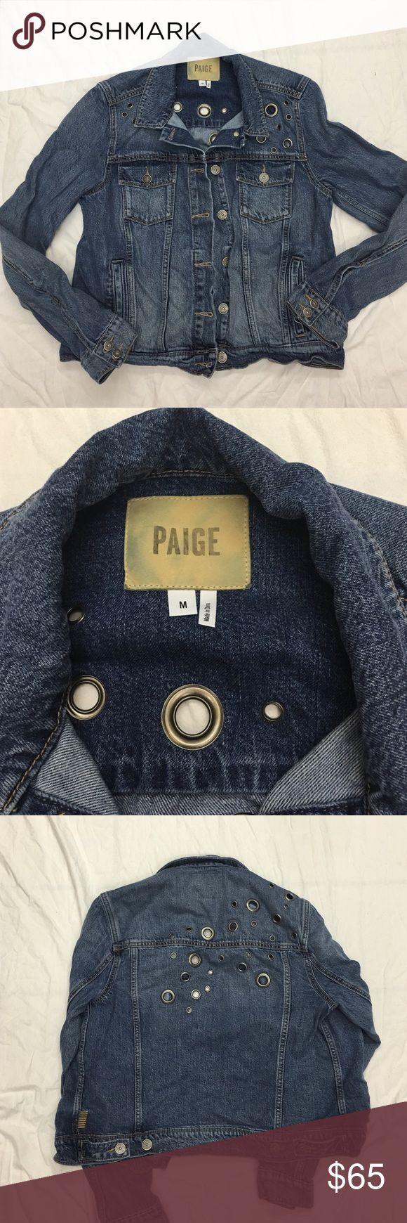 Paige denim jacket with grommets This jacket has only been worn once. Very cute detail with grommets. Still for sale through page for over $200!! Runs small I would say this is more like a size small Paige Jeans Jackets & Coats Jean Jackets