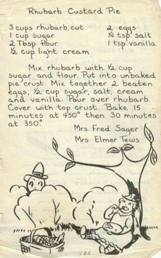Rhubarb custard pie recipe from 1950's