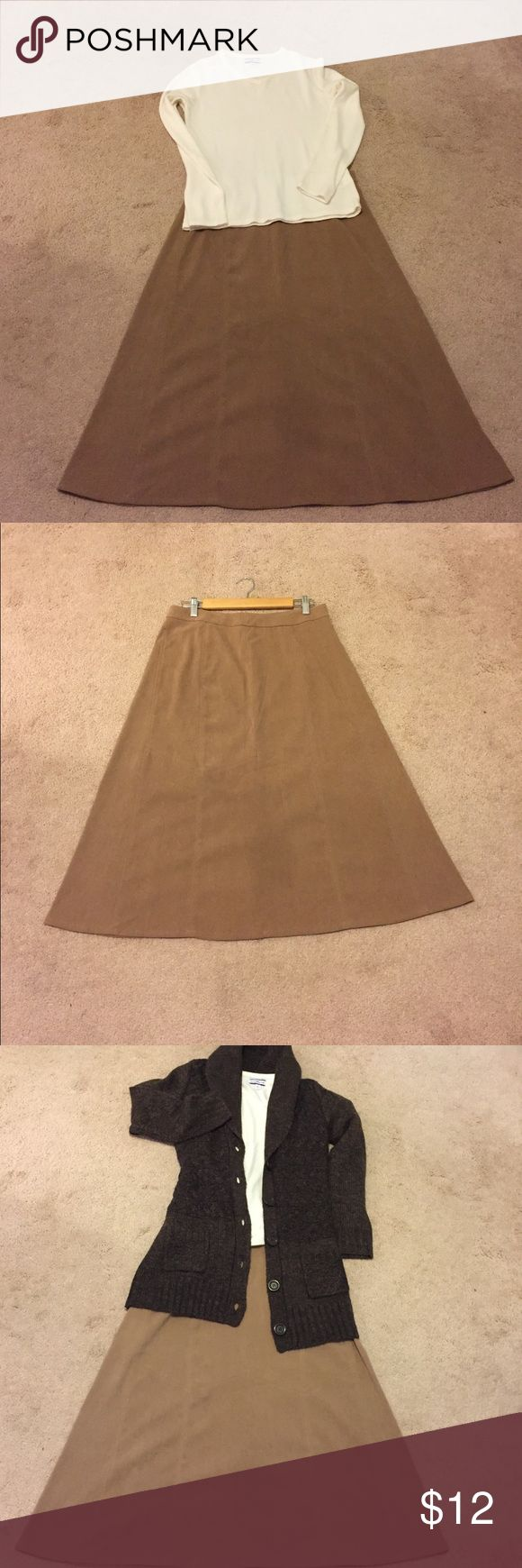 "Christopher Banks suede like A line skirt size 10 Christopher Banks suede like A line skirt size 10. Waist measures 15.5 and waist to hem measures 30"" (mid-calf) Like new!!! Perfect with heels or boots for the autumn and winter months. Christopher & Banks Skirts A-Line or Full"