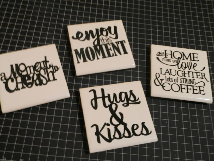 DIY: Tile Coasters with Vinyl Phrases!  See Video for details