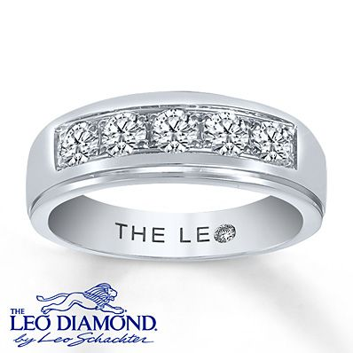 Leo Diamond Men's Band 1 ct tw Round-cut 14K White Gold
