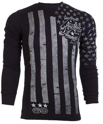 Archaic AFFLICTION Mens THERMAL T-Shirt NATION American Customs Biker M-3XL $58