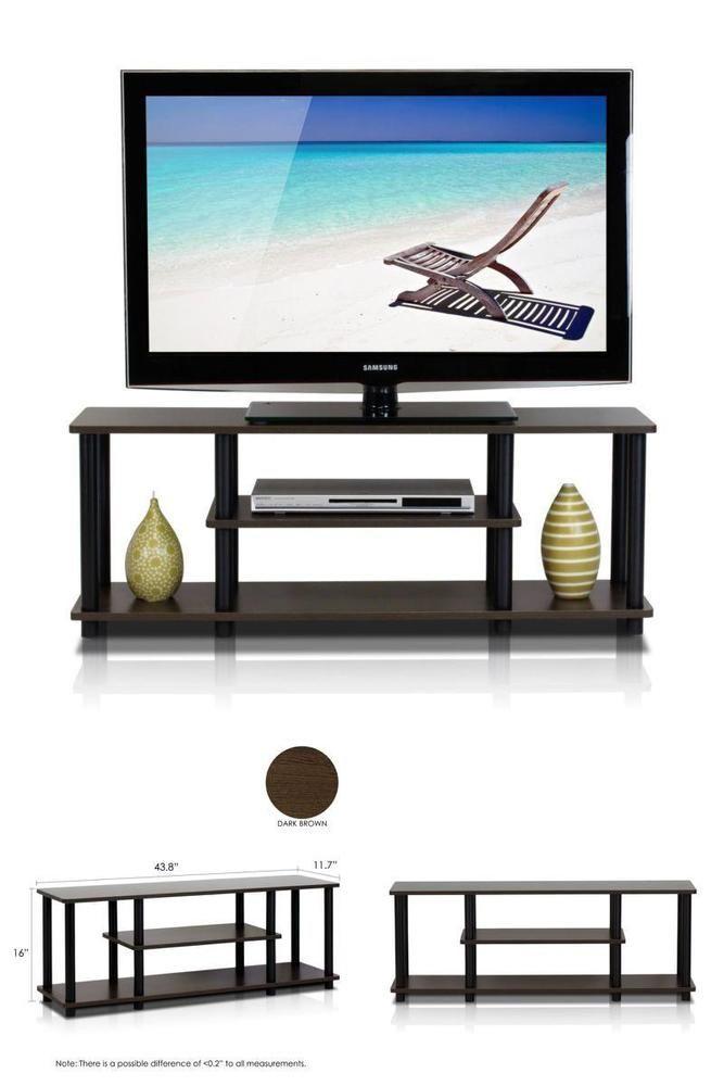 ICYMI: Low Profile Flat TV Stand Small Entertainment Center 55 Inch Sturdy Rack w Shelf