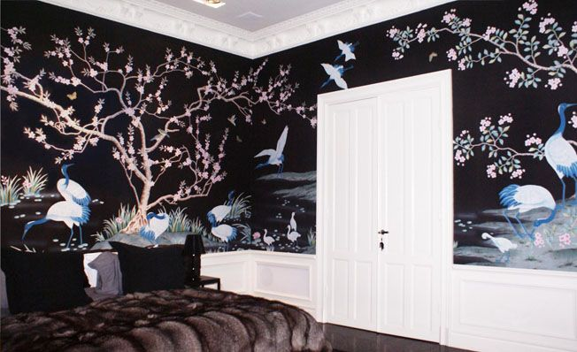 Bedroom wall in Misha's modern chinoiserie, Cranes at the Water Pond wallpaper design on Black dyed silk.