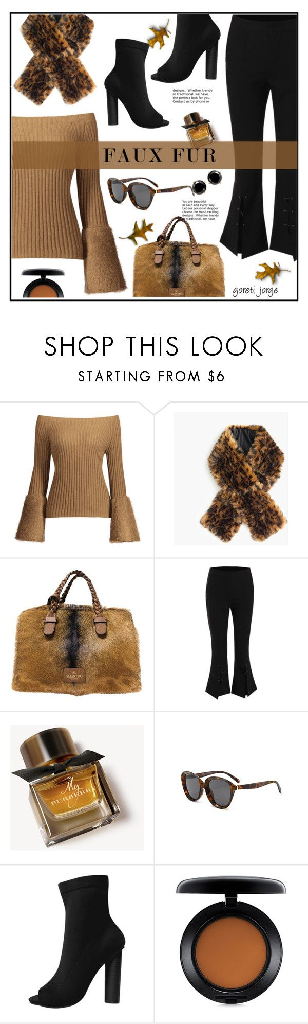 """""""Wow Factor: Faux Fur"""" by goreti ❤ liked on Polyvore featuring J.Crew, Valentino, Burberry and MAC Cosmetics"""