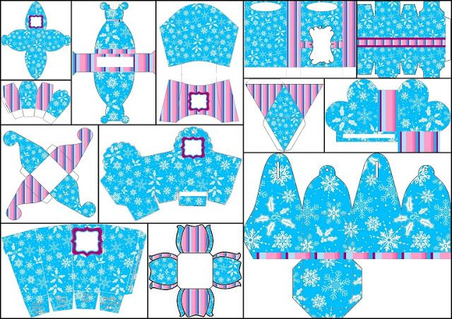 Frozen Purple and Light Blue: Free Printable Boxes.