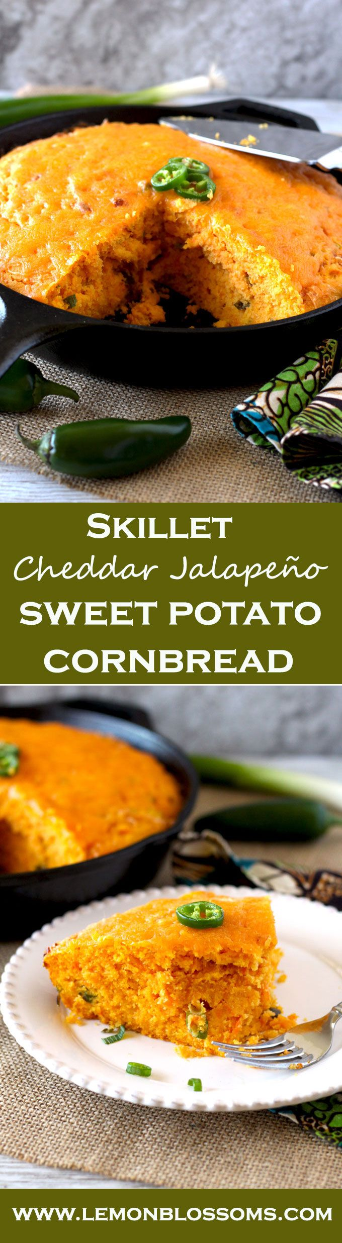 Not too spicy and super cheesy, this Skillet Cheddar Jalapeno Sweet Potato Cornbread is moist and savory with a little hint of natural sweetness from the oven roasted sweet potatoes