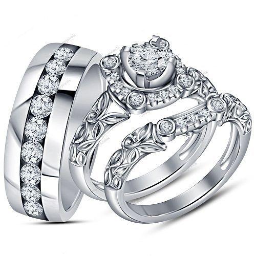 14k White Gold Finish Wedding Trio Ring Set Peg Head Vvs1 Diamond 1 86 Carat