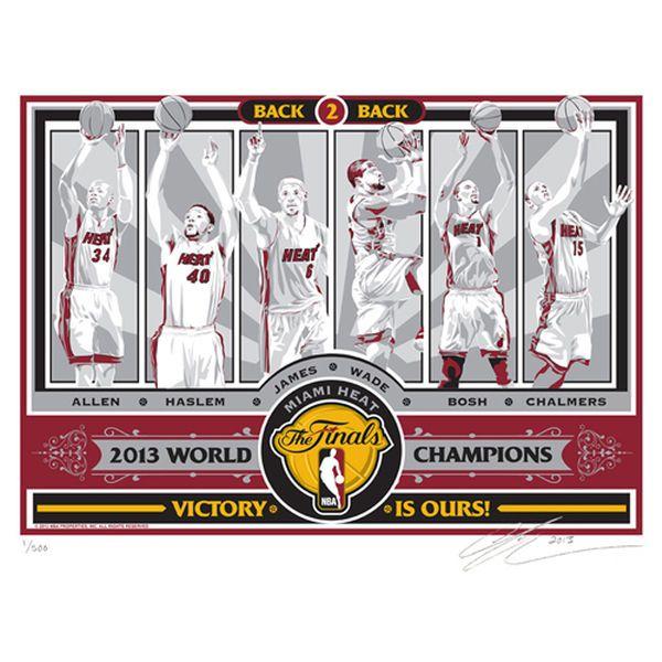 Miami Heat 2013 NBA Finals Champions 17'' x 21'' Sports Propaganda Screen Print - $69.99