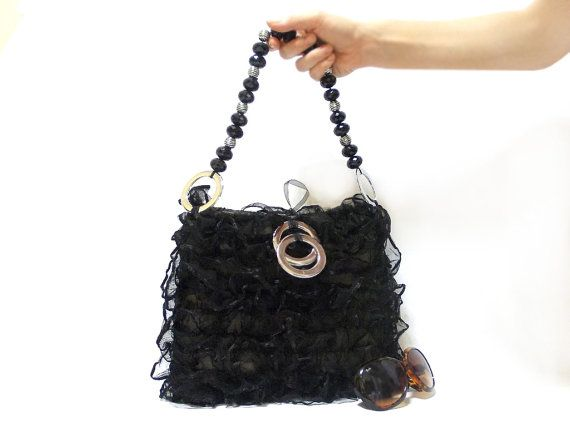Lace purse Black Bag Handbag Stylish Bag Handmade by aynikki