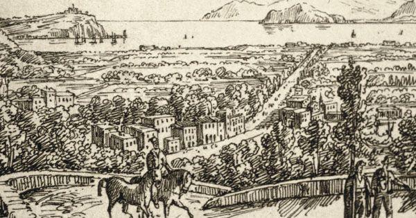 Veduta della costa di Bagnoli con Nisida a le isole di Procida e Ischia sullo sfondo, Tommaso Ruiz, 1750. Collezione M. Forzati.