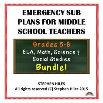 Emergency Sub Plans for Middle School Teachers includes afull day's worth of lessonsinELA, Math, Science, and Social Studies for grades 5-8.The lessons are self-contained and ready to use without any preparation. Answer keys are included with each lesson plan.