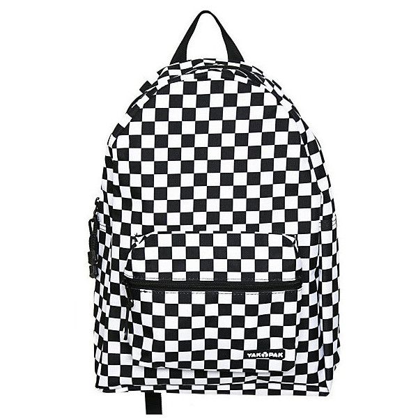 Yak Pak Black And White Checkered Backpack | Hot Topic (£6.57) ❤ liked on Polyvore featuring bags, backpacks, black and white bag, pattern bag, black white bag, yak pak and pattern backpack