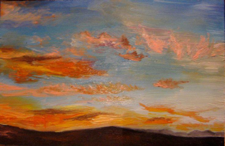 Sunset in oils. Sold on auction at the Secret Postcard Exhibition, Art Karoo. Katja Jul 2013