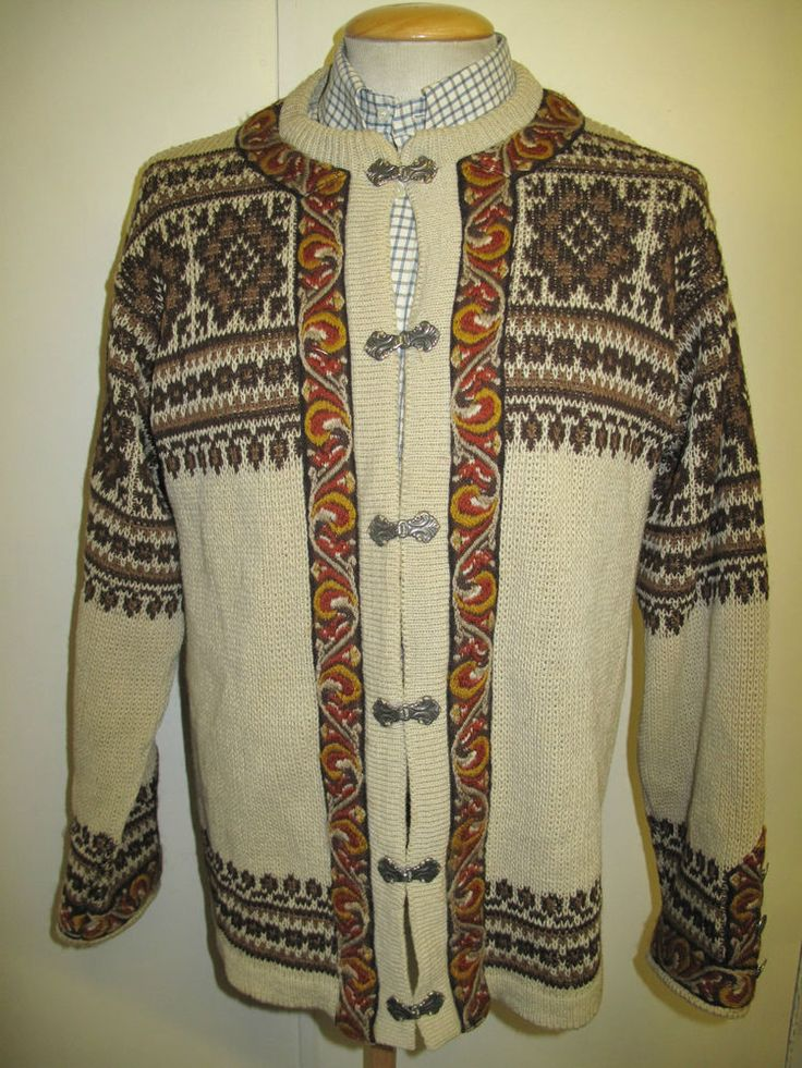 Traditional Vintage Norwegian Nordic Patterned Cardigan Size L UK 14/16 #Traditional #Cardigans