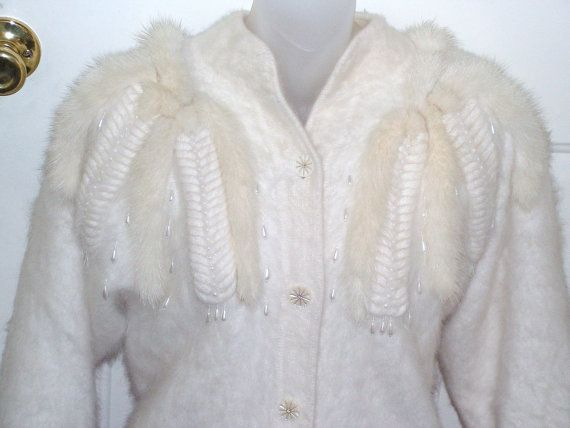 Angora sweater / Retro Pinup Cardigan with Real by retrosideshow, $28.00