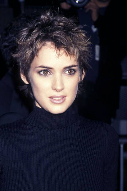 Famous Actress Winona Ryder's Brunette Aka Brown Pixie Hairdo.