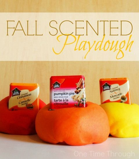 """Whip up these 3 """"Scent""""-sational Fall Playdoughs for your little ones!  {One Time Through}"""