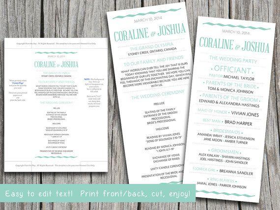 Best 25+ Wedding ceremony program template ideas on Pinterest - wedding program