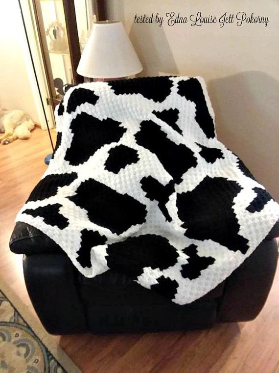 Cow Print Afghan, C2C Crochet Pattern, Written Row Counts, C2C