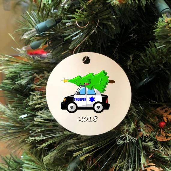 State Trooper Car With Christmas Tree On Top Ornament Law Enforcement Gift Idea By Law Enforcement Gifts Ideas Christmas Tree Ornaments Law Enforcement Gifts