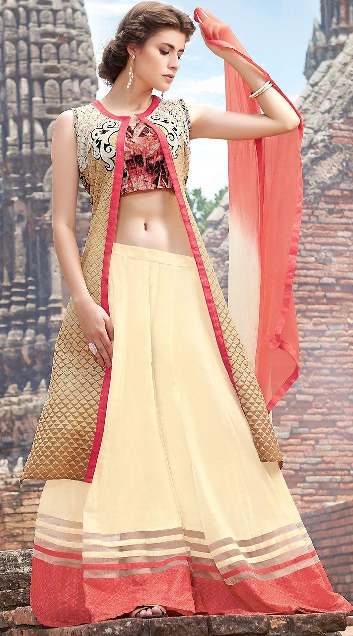 6053047aef Beautiful Cream And Pink Pure Jute Silk Palazzo Lehenga Suit | Designer  Indo Western Dresses | Lehenga suit, Salwar suits, Salwar kameez
