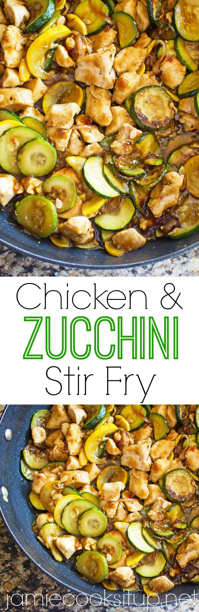 Chicken and Zucchini Stir Fry Jamie Cooks It Up!! A great, healthy way to use up that garden zucchini!