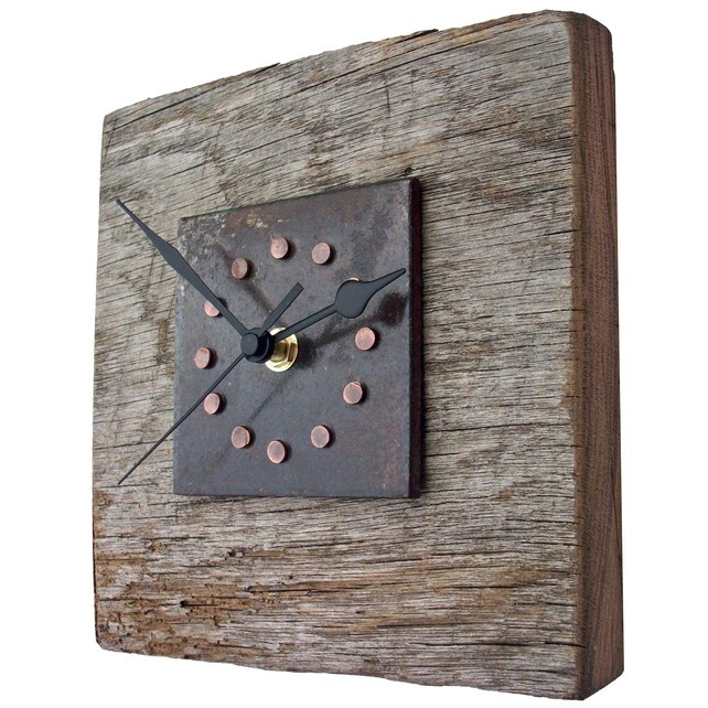 Clock - Reclaimed Oak Copper Rivet and Metal Wall Clock £39.99